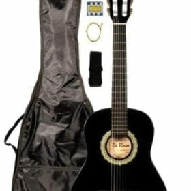 "36"" Inch 3/4 Black Student Beginner Classical Nylon String Guitar and Carrying Bag, Strap, & DirectlyCheap(TM) Translucent Blue Medium Guitar Pick (PRO-K Series) 6"