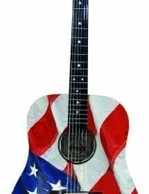 INDIANA Graphic Top USA-1 Acoustic Guitar - Red White and Blue 1