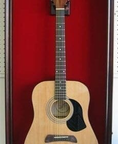 LARGE Acoustic Guitar Display Case Cabinet, Fit most Guitars, with Lock, Mahogany Finish 4