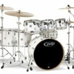 Pacific-Drums-PDCM2217PW-7-Piece-Drumset-with-Chrome-Hardware-Pearlescent-White-0
