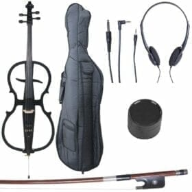 Cecilio 4/4 CECO-1BK Black Metallic Electric Cello with Ebony Fittings in Style 1 (Full Size) 4
