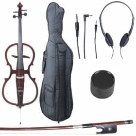 Cecilio 4/4 CECO-1DW Mahogany Metallic Electric Cello with Ebony Fittings in Style 1 (Full Size) 5