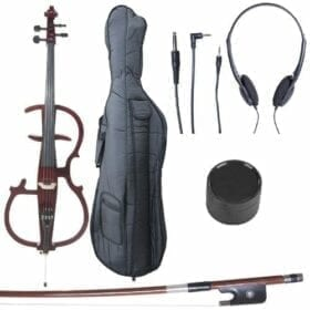 Cecilio 4/4 CECO-2DW Mahogany Metallic Electric Cello with Ebony Fittings in Style 2 (Full Size) 6