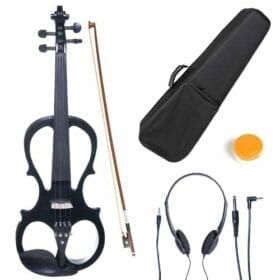 Cecilio 4/4 CEVN-1BK Solid Wood Electric/Silent Violin with Ebony Fittings in Style 1 - Full Size - Black Metallic 5