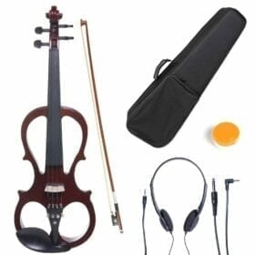 Cecilio 4/4 CEVN-1NA Solid Wood Mahogany Metallic Electric / Silent Violin with Ebony Fittings in Style 1 (Full Size) 4