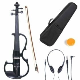 Cecilio 4/4 CEVN-2BK Solid Wood Electric/Silent Violin with Ebony Fittings in Style 2 - Full Size - Black Metallic 11