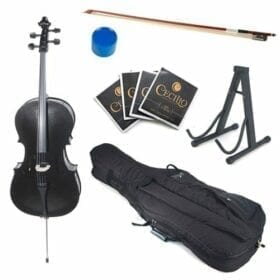 Cecilio CCO-Black Student Cello with Soft Case, Stand, Bow, Rosin, Bridge and Extra Set of Strings, Size 4/4 (Full Size) 9
