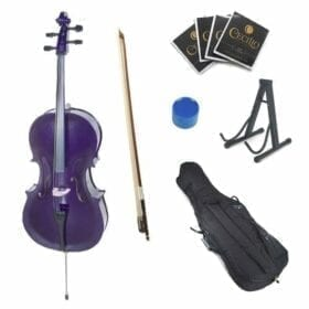 Cecilio CCO-Purple Student Cello with Soft Case, Stand, Bow, Rosin, Bridge and Extra Set of Strings, Size 4/4 (Full Size) 10