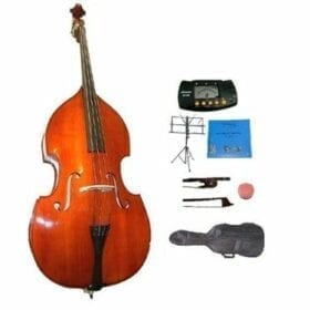 GRACE 3/4 Size Student Natural Upright Double Bass with Bag,Bow,Bridge+2 Sets Strings+Rosin+Music Stand+Metro Tuner 9