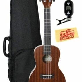 Kala KA-C Mahogany Concert Ukulele Bundle with Gearlux Polyfoam Case, Clip-On Tuner, Austin Bazaar Instructional DVD, and Austin Bazaar Polishing Cloth 6