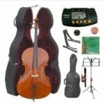 Merano-44-Size-Cello-with-Hard-Case-Bag-and-Bow+2-Sets-of-Strings+Cello-Stand+Black-Music-Stand+Metro-Tuner+Mute+Rosin-0